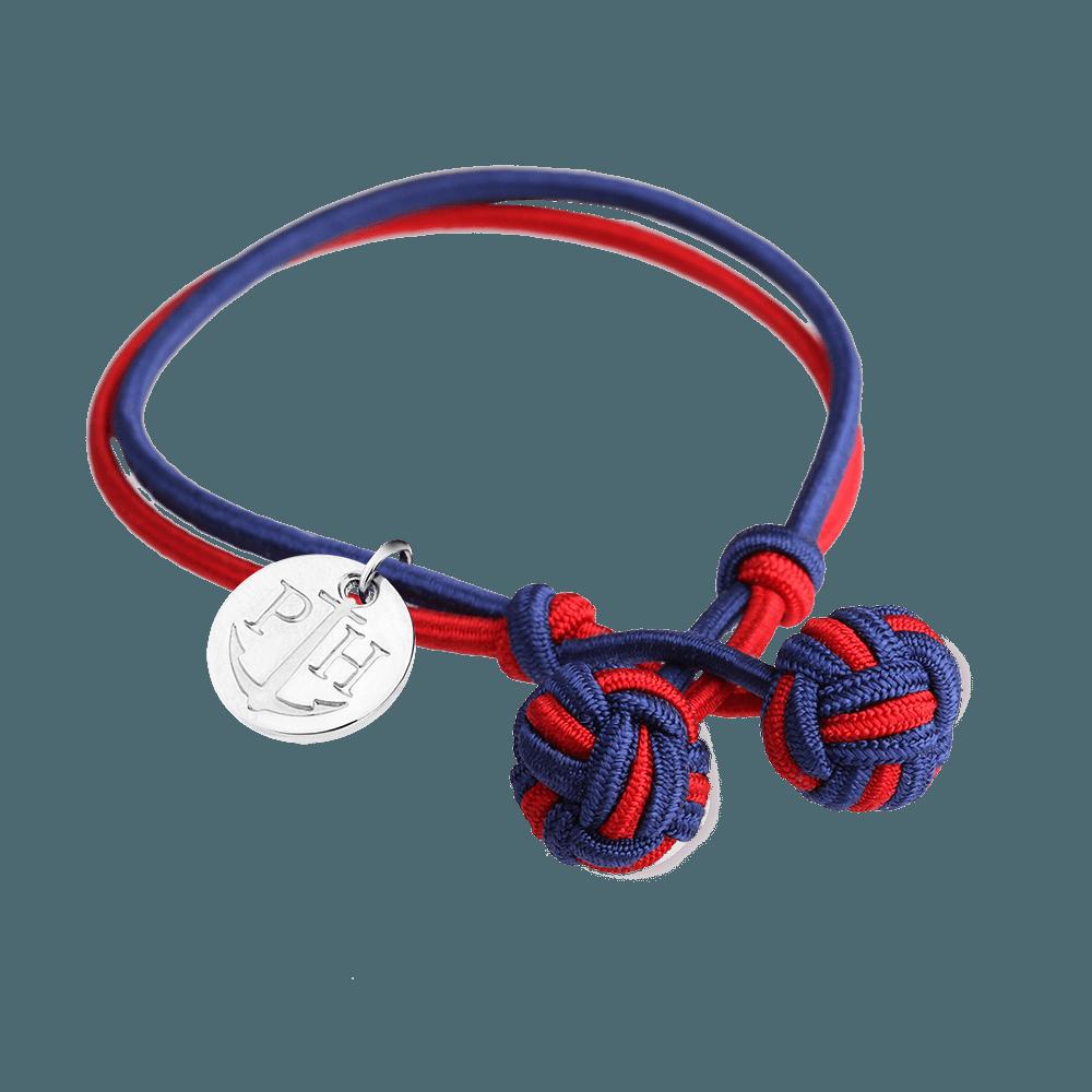 Srebrna Čvor Narukvica Teget Plava-Crvena