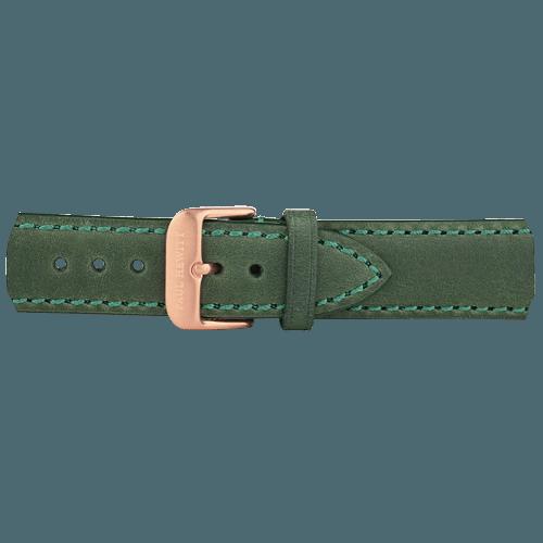Kožna Roze Zlatna Narukvica Zelena 176mm