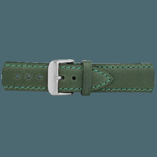 Kožna Srebrna Narukvica Zelena 176mm