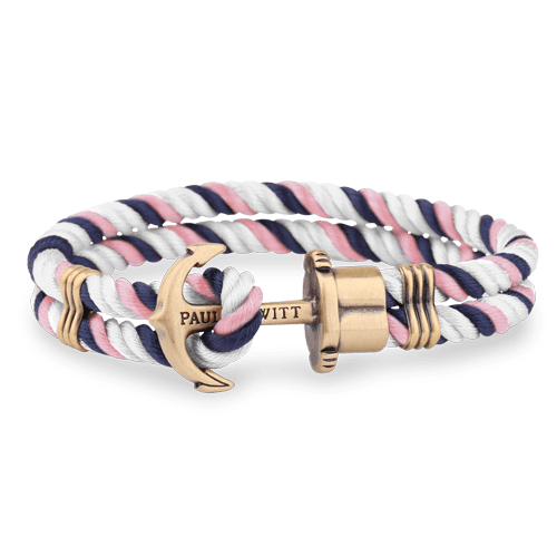 PHREP Brass Sidro Najlon Narukvica Teget-Svetlo Pink-Bela