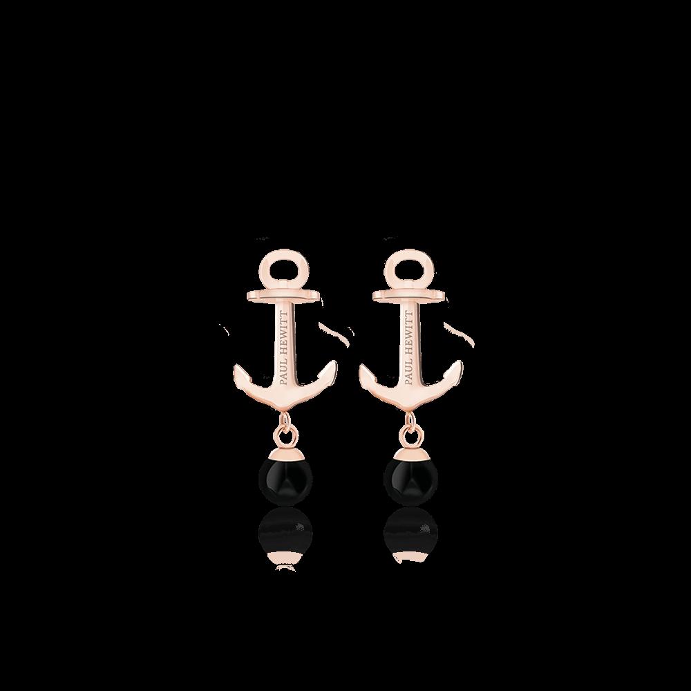 PH-ER-ND-R-O Minđuše Anchor Pearl Roze Zlatna Onyx